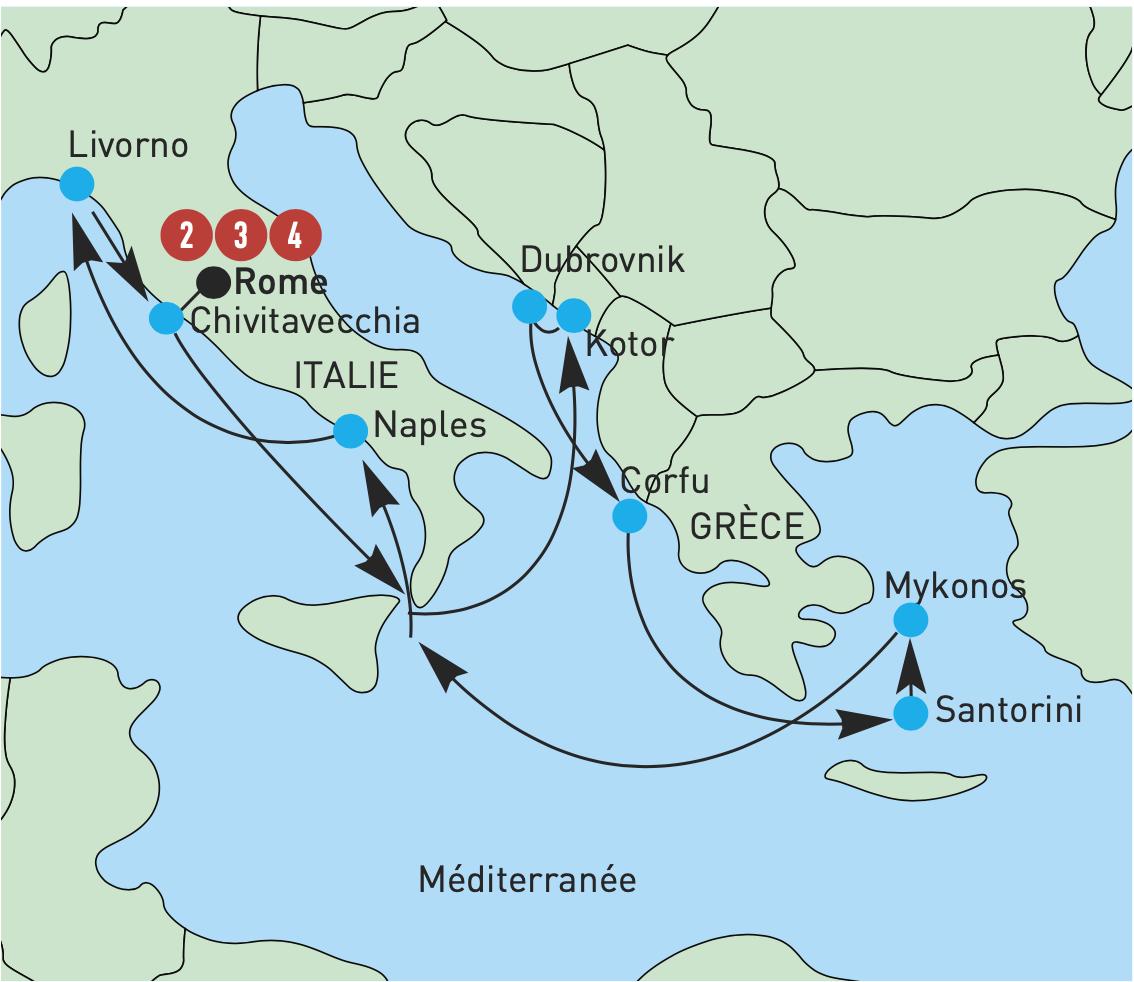 carte grece italie - Le Groupe VIP